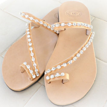 Leather Sandals Rhinestone Decorated Wedding Bridesmaids Greek Toe Ring