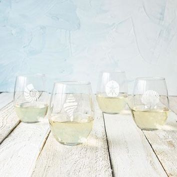 Seashell Stemless Wine Glasses (Set of 4)