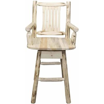 Montana Woodworks - Montana Collection Captain's Barstool w/ Back & Swivel, Clear Lacquer Finish