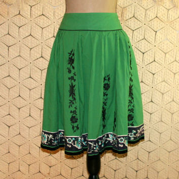 Embroidered Black + Green Skirt Cotton Circle Skirt Gypsy Skirt Peasant Skirt Folk Clothing Anthropologie Size 6 Small Womens Clothing
