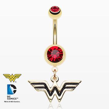 Golden Classic Wonder Woman Dangle Belly Button Ring
