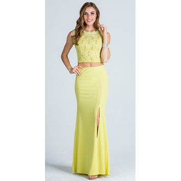Yellow Sleeveless Crop Top Long Two-Piece Prom Dress with Slit