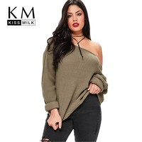 2018 New Casual Solid Sexy Loose Sweater