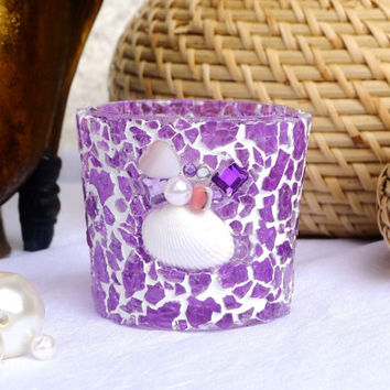 Lilac Candle Holder Mosaic Tea Light Holder, Radiant Orchid with Shells and Beads