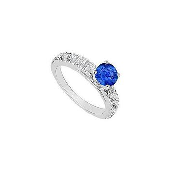 14K White Gold : Sapphire and Diamond Engagement Ring 1.00 CT TGW