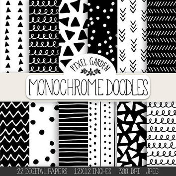 Doodle Digital Paper. Hand Drawn Geometric Doodle Patterns. Monochrome Chevron, Polka Dot, Background. Black, White Minimalist Digital Paper