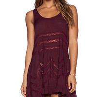 Free People Tiny Dot Trapeze Slip in Mauve