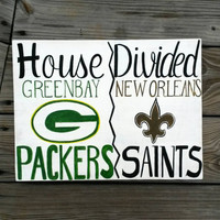 Custom House Divided NFL Football Reclaimed Wood Hand Painted Sign, Sports, Green bay Packers, New Orleans Saints