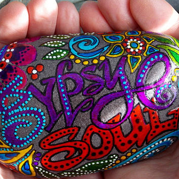Gypsy Soul Sea Stone / Painted Rock / Sandi Pike Foundas / Cape Cod