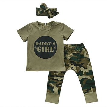 Baby Clothing Newborn Toddler Baby Boy Girl Camo T-shirt Tops+ Pants Outfits Set Clothes 0-24M