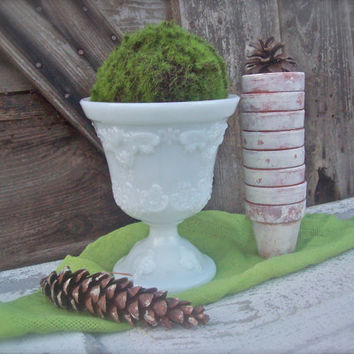 Vintage Milk glass Urn Vase Planter Wedding Display