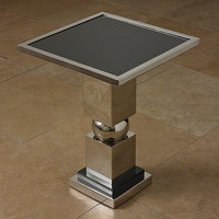 Global Views Squeeze Side Table-Nickel w/Black Granite Top - Global Views 9-92223
