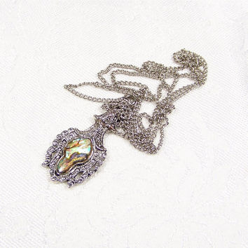 Abalone Silver Pendant Necklace Vintage Jewelry