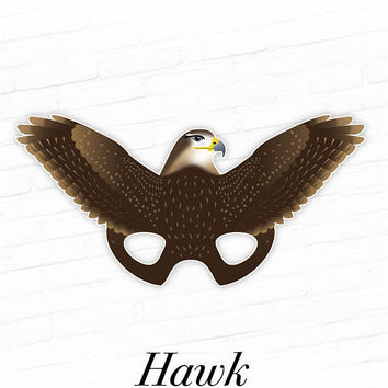 Printable Hawk Mask, Printable Halloween Mask, Printable Falcon Mask, Bird Masks, Birds of Prey, Raptors, Woodland Animals, Photo Booth Prop
