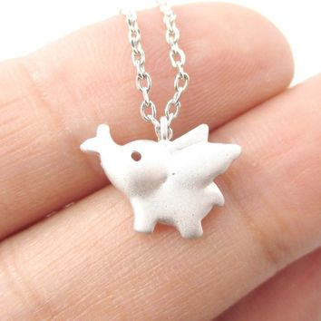Flying Baby Elephant Shaped Pendant Necklace in Silver | Animal Jewelry