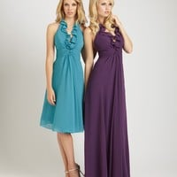long chiffon dress halter neckline accented with a ruffle detail ruched waistline and flowy skirt YSP1274  - Bridesmaid Dresses - Wedding Party - Wedding Apparel
