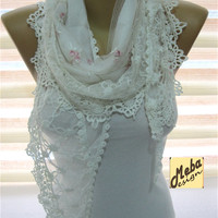 Scarf, White Scarf -Elegant scarf -Fashion scarf - gift Ideas For Her Women's Scarves-christmas gift- for her -Fashion accessories