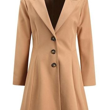 Khaki Turndown Collar Long Sleeve Fashion Peplum Winter Coat