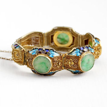 Vintage Gold Washed Silver Art Deco Filigree Jadeite Bracelet - 1930s Green White Carved Jade Gemstone Panel Statement Blue Enamel Jewelry