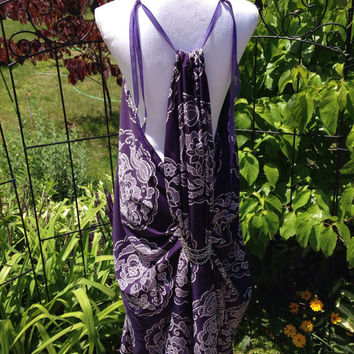 "Game of thrones inspired ""King's Landing handmaiden dress"". Purple w White print Shae/Ros gown. LARP/cosplay. Fantasy/ Goddess Gown"