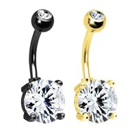 BodyJ4You Belly Ring Cubic Zirconia Goldtone Black Steel Navel Button Barbell 14G Jewelry Set 2PCS