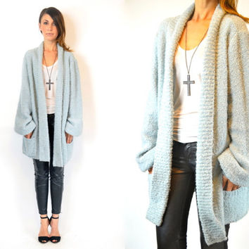 nubby BABY BLUE baggy bouclé oversized grunge grandpa CARDIGAN duster sweater, extra small-medium