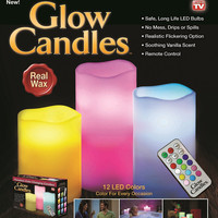 Remote Control  Flameless Color-Changing LED Real Wax Candles SET of 3