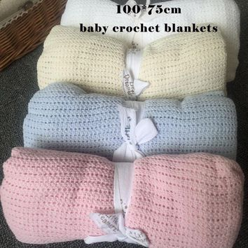 70x100cm New 100% Celluar Cotton Summer Thermal Receiving Baby Throw Nursery Blanket Newborn Knitted Swaddling Wrap Nap Blankets