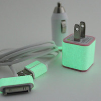 Glow in the dark iphone charger - Includes pink wall adapter & white Car Charger