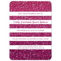 Sweet 16 Party Invitation - Pink Ombre Glitter Stripes