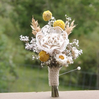 Dried Flower, Craspedia, Paper and Lace, Burlap, Wheat, Boutonniere, Country, Rustic, Farmhouse Wedding Made to Order