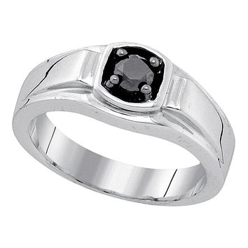 Sterling Silver Men's Round Black Color Enhanced Diamond Solitaire Ring 1/2 Cttw - FREE Shipping (USA/CAN)