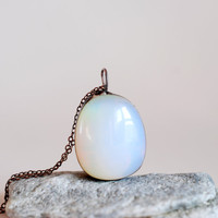 Moonstone Necklace, Crystal Necklace, Soldered Necklace, Raw Stone Necklace, Geode Necklace, Opal, Opalite Pendant