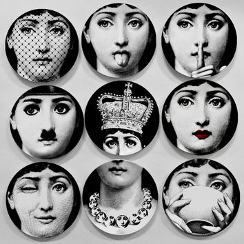 Top Fashion Milan Piero Fornasetti plates pure color black&white illustration ha