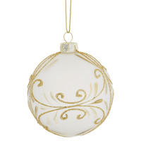 "S/4 3"" Glass Polish Ornaments, Gold"