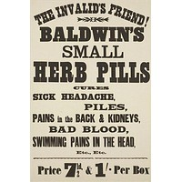 """baldwin's small herb pills VINTAGE AD POSTER the """"invalid's"""" friend 24X36"""
