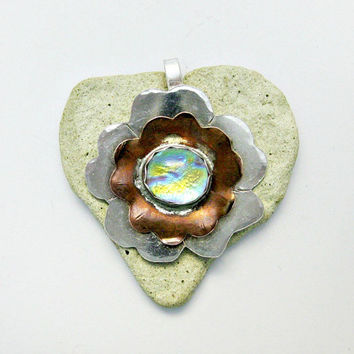 Fused Dichroic Glass Pendant - Silver Copper and Dichroic Pendant