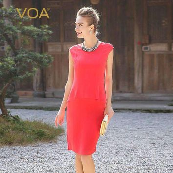 Heavy Silk Office Lady Sleeveless Solid Slim Pencil Dress Dark Blue Red Basic Business Women Midi Dress Summer A0301