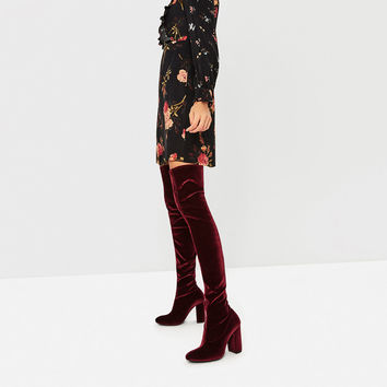 VELVET OVER THE KNEE HIGH HEEL BOOTS