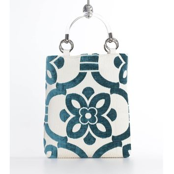 Teal Stencil Small Tote Bag