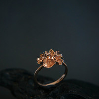 Rose gold engagement ring, flower engagement ring, 14K rose gold ring, lily of the valley ring, proposal ring, promise ring, delicate ring