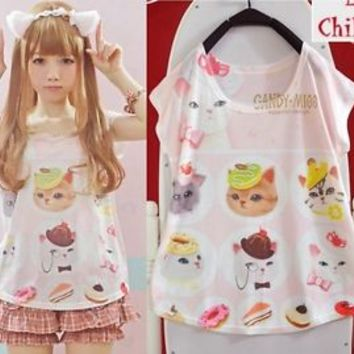 Kawaii Cute Colorful lolita cartoon fantasy Lady GAGA barbie short sleeve Shirt