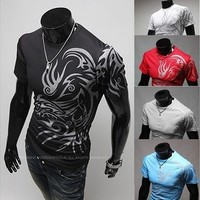 Black,red,blue,white,Gray New men's fashion style male Hitz tattoo T-Shirt Tee [10312514051]