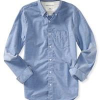 Long Sleeve Flecked Oxford Woven Shirt