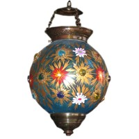 Indian Glass Globe Hanging Lantern of 19th Century