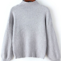 Grey Turtleneck Ribbed Sweater