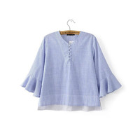 Summer Stripes Three-quarter Sleeve Round-neck Casual Tops Shirt Loudspeaker [6332328004]