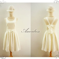 Sweetest Spell ...Amor Vintage Inspired Classy White Cream Lace Back Bow V Halter Full Pleated Skirt All Party Prom Wedding Dress -Size S-M