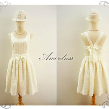 Lace Dress White Cream Sweetest Spell Party Reception by Amordress
