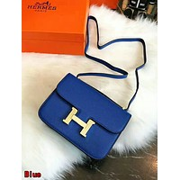 Hermes High Quality Classic Popular Women Shopping Bag Leather Crossbody Satchel Shoulder Bag Blue